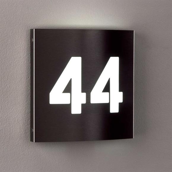 albert edelstahl hausnummernleuchte mit led 696008. Black Bedroom Furniture Sets. Home Design Ideas