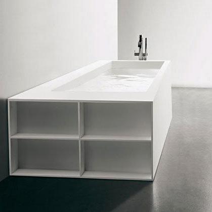 antoniolupi biblio badewanne mit armaturenrand und ablage links mit 3 seitiger verblendung. Black Bedroom Furniture Sets. Home Design Ideas