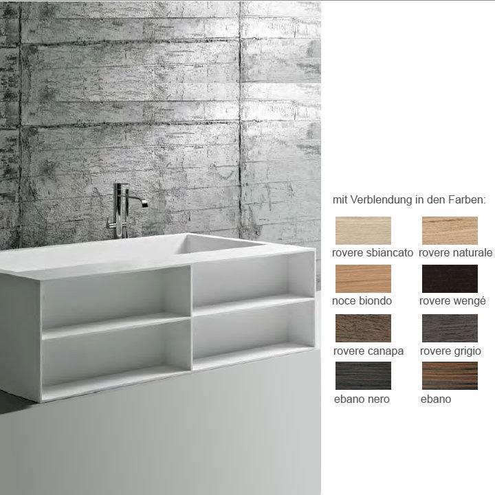 antoniolupi biblio55 badewanne mit ablage 4 seitig verblendet noce biondo biblio55 biondo. Black Bedroom Furniture Sets. Home Design Ideas