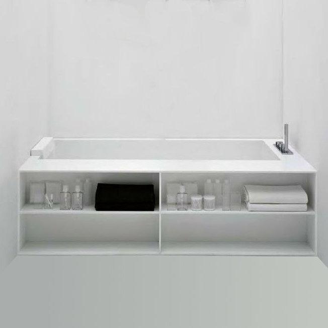 Antoniolupi biblio badewanne mit armaturenrand rechts for Ablage badewanne