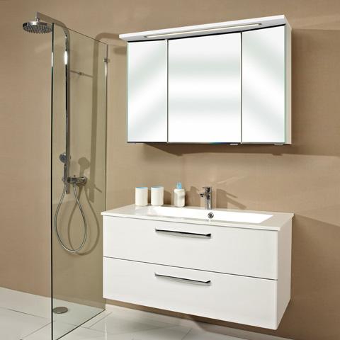 artiqua 822 mineralmarmor waschtisch mit wt unterschrank und 3 d led spiegelschrank front. Black Bedroom Furniture Sets. Home Design Ideas