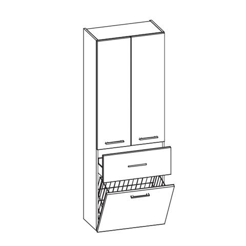 artiqua hochschrank mit 2 t ren front wei hochglanz korpus wei glanz 400 2 hkl 1 60 7016. Black Bedroom Furniture Sets. Home Design Ideas