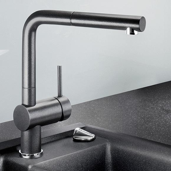blanco linus s einhebelmischer ausladung 219 mm auslauf ausziehbar anthrazit 516688 reuter. Black Bedroom Furniture Sets. Home Design Ideas