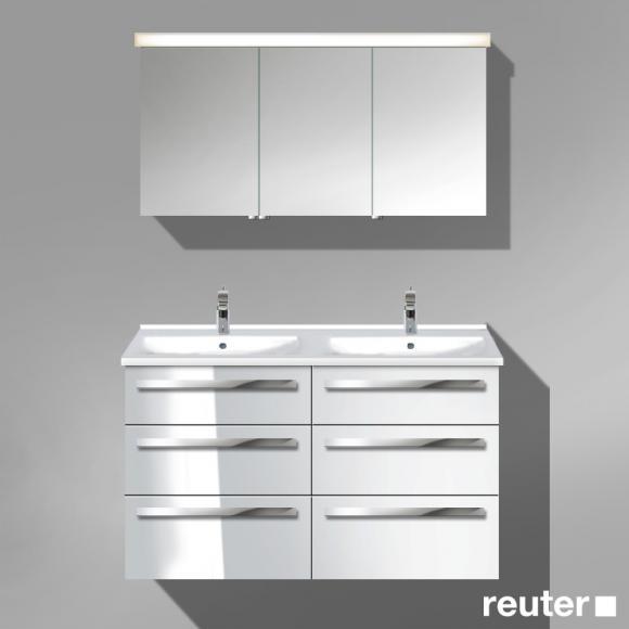 Burg Essento Möbelanlage 15, Waschtischunterschrank, Doppel-Waschtisch, Spiegelschrank L Front weiß hochglanz/Korpus weiß hochglanz/WT weiß SEXY123LF1327001, EEK: A+. Dieser Spiegelschrank enthält eingebaute LED-Lampen. A++ (LED), A+ (LED), A (LED). Die Lampen können in dem Spiegelschrank nicht ausgetauscht werden.