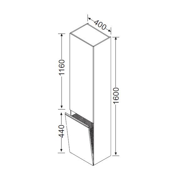 burg bel hochschrank mit 1 t r front wei hochgl nzend. Black Bedroom Furniture Sets. Home Design Ideas