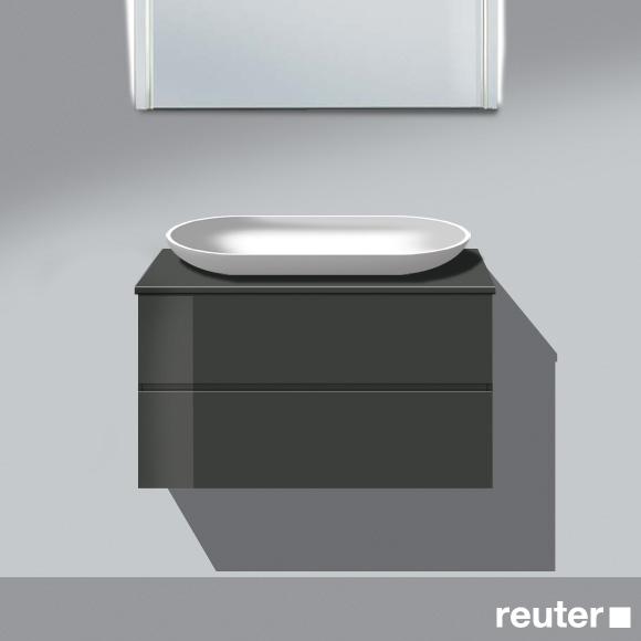 burg bel waschtischunterschrank f r aufsatzbecken mit 2 ausz gen front dunkelgrau hochgl korpus. Black Bedroom Furniture Sets. Home Design Ideas