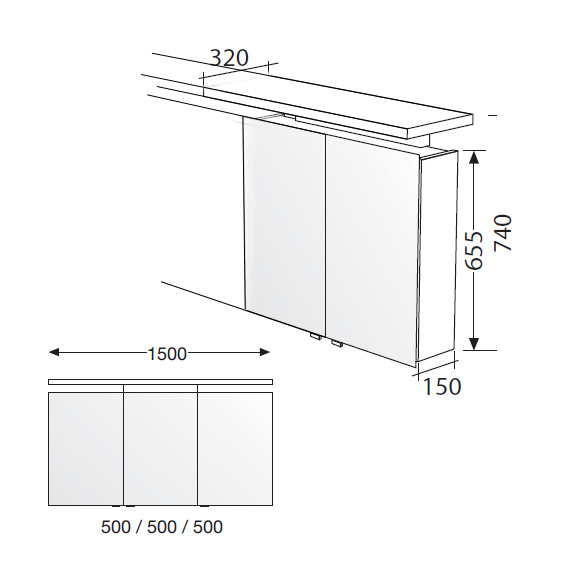 burg cala spiegelschrank mit 3 t ren front verspiegelt korpus wei gl nzend sps151dlc40. Black Bedroom Furniture Sets. Home Design Ideas