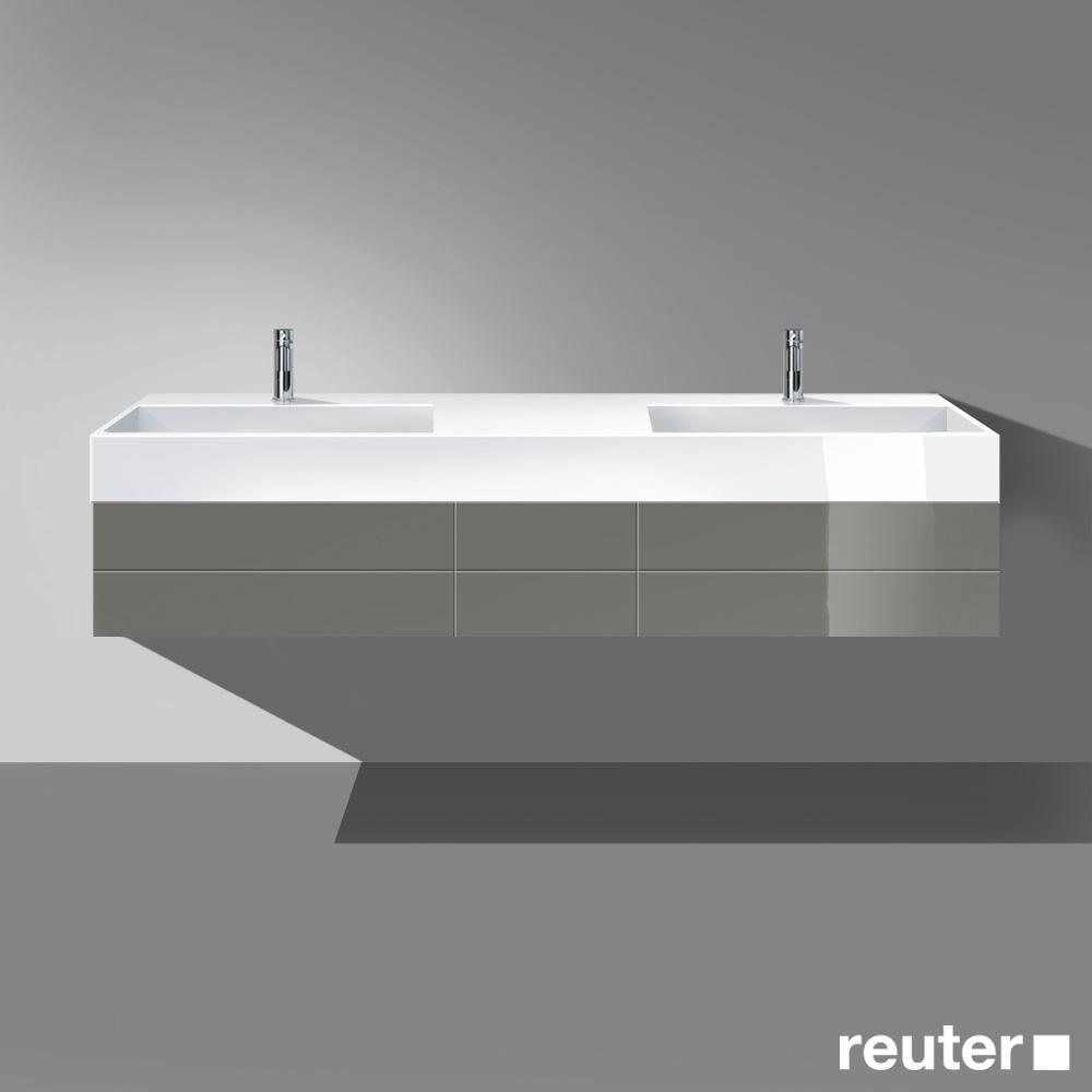 burg crono waschtischunterschrank mit doppelwaschtisch 2 ausz gen und 2 schubladen front grau. Black Bedroom Furniture Sets. Home Design Ideas