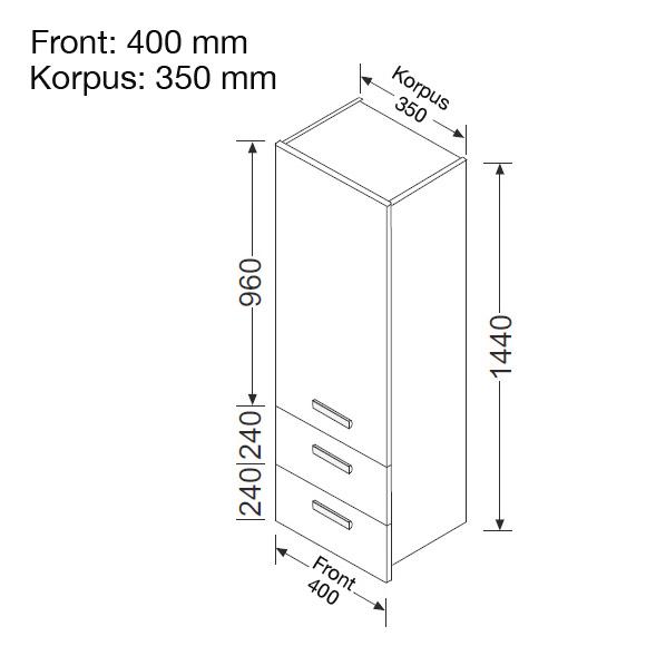 burg essento hochschrank mit 1 t r und 2 ausz gen front wei hochgl nzend korpus wei. Black Bedroom Furniture Sets. Home Design Ideas