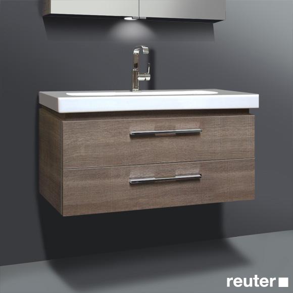 burg oteo waschtischunterschrank mit waschtisch f eiche graubraun wellenschlag korpus graubraun. Black Bedroom Furniture Sets. Home Design Ideas