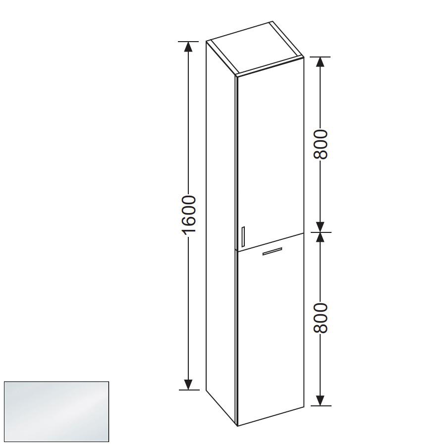 burg sinea hochschrank mit 1 t r und 1 w schekippe front wei hochglanz korpus wei gl nzend. Black Bedroom Furniture Sets. Home Design Ideas