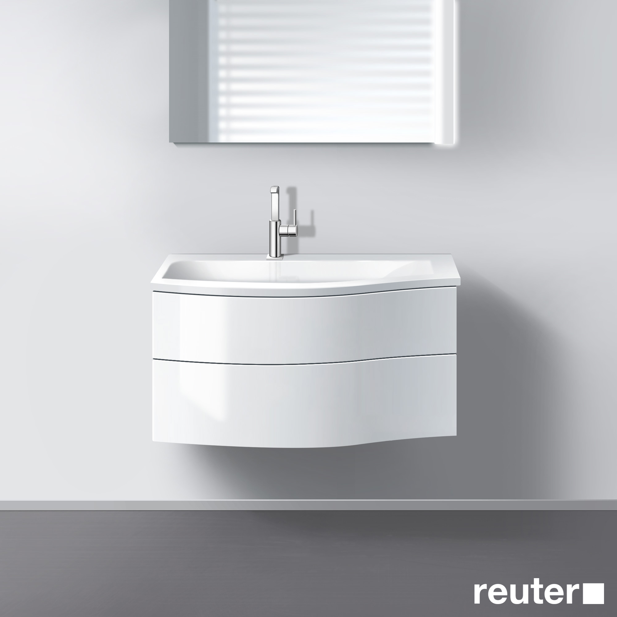 burg sinea waschtischunterschrank mit waschtisch und 2 ausz gen front wei hochglanz korpus wei. Black Bedroom Furniture Sets. Home Design Ideas