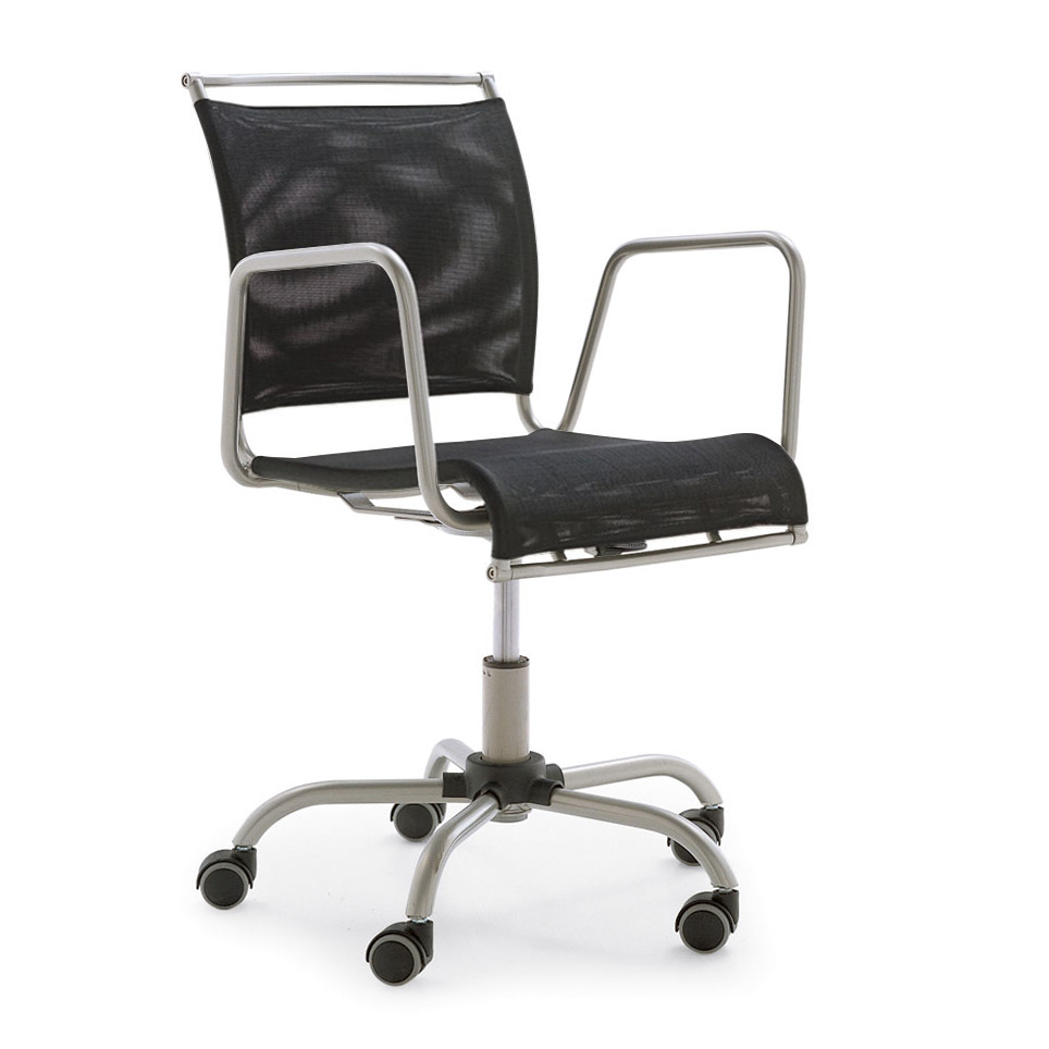 Calligaris air race stuhl mit rollen und armlehne cs 321 for Stuhl mit armlehne schwarz