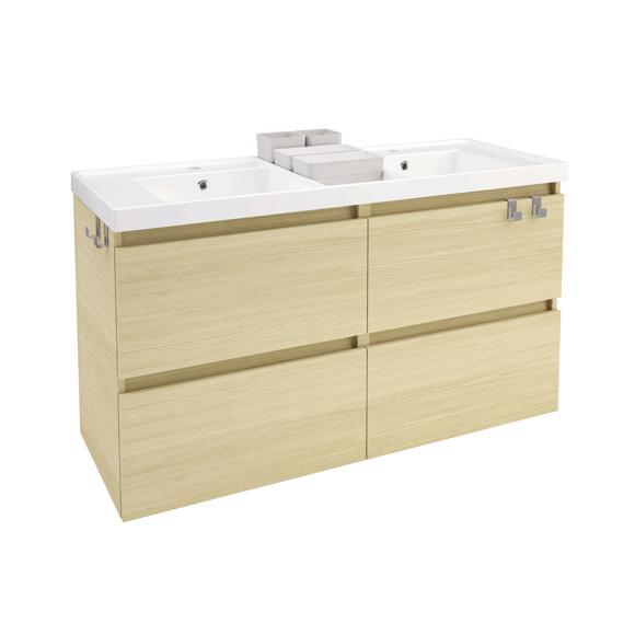 cosmic b box doppel waschtisch mit unterschrank mit 4 schubladen b 120 h 69 t 45 cm eiche. Black Bedroom Furniture Sets. Home Design Ideas