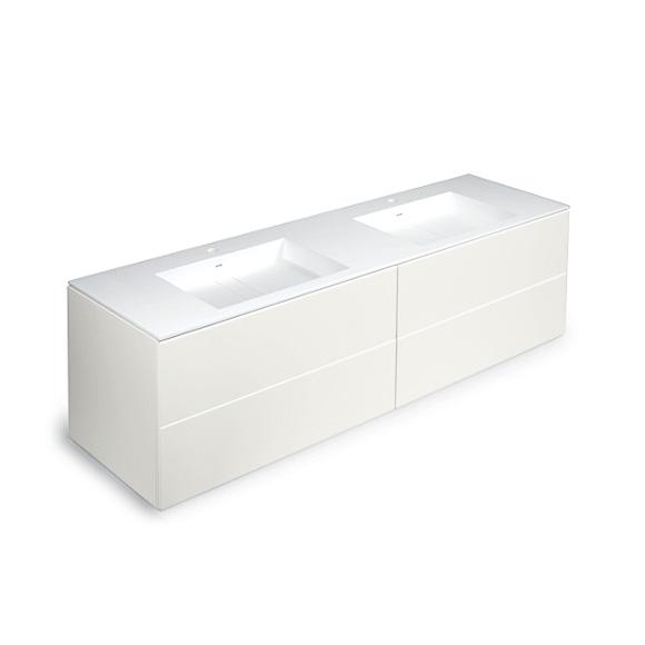cosmic block doppel waschbecken matt mit unterschrank b 200 h 52 t 50 cm wei gl nzend. Black Bedroom Furniture Sets. Home Design Ideas