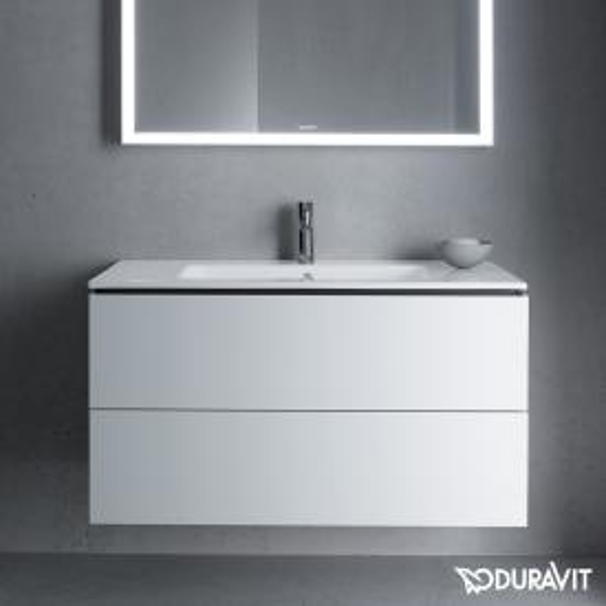 Duravit ME by Starck Waschtisch mit L-Cube Waschtischunterschrank weiß matt, mit WonderGliss, mit 1 Hahnloch