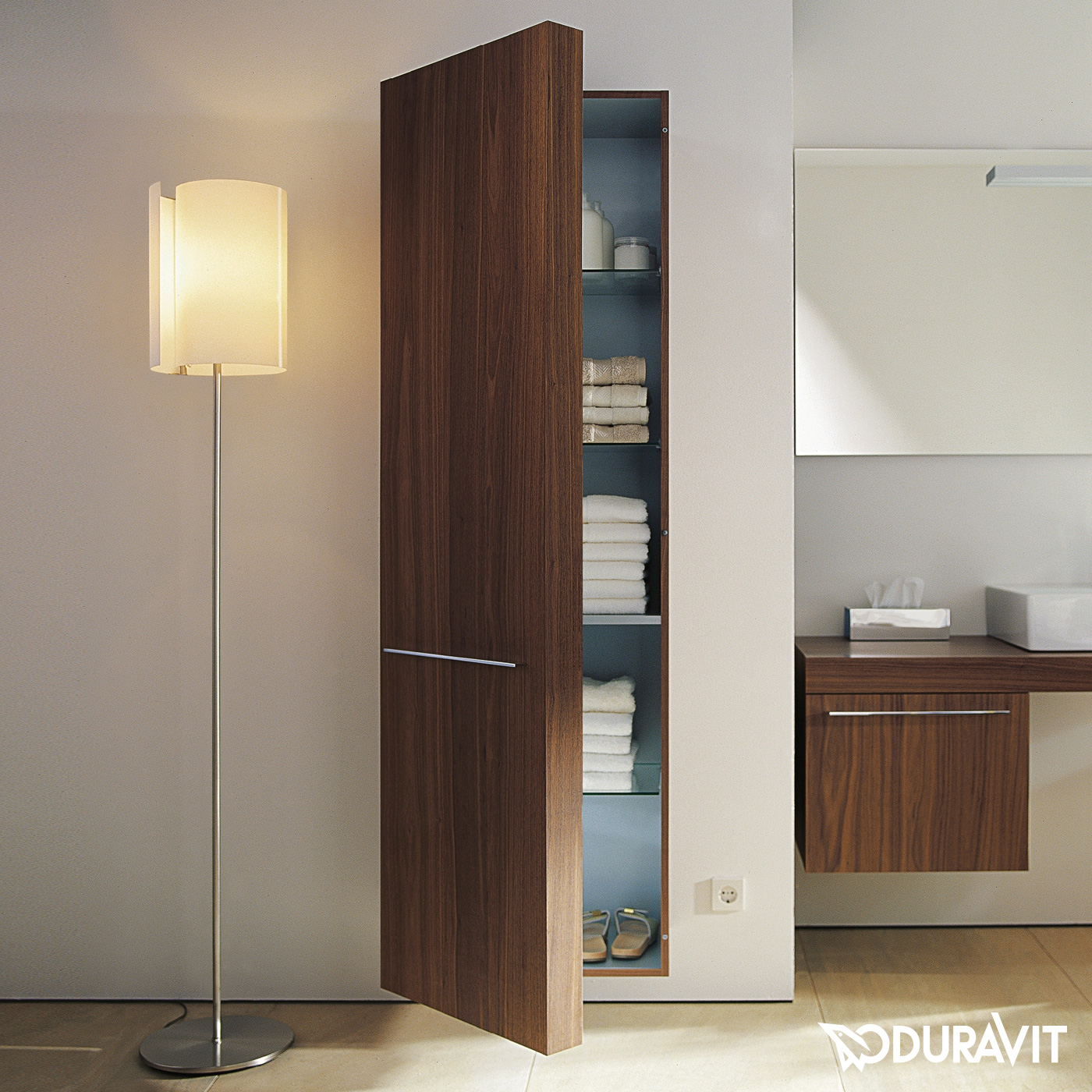 duravit fogo hochschrank amerikanischer nu baum. Black Bedroom Furniture Sets. Home Design Ideas