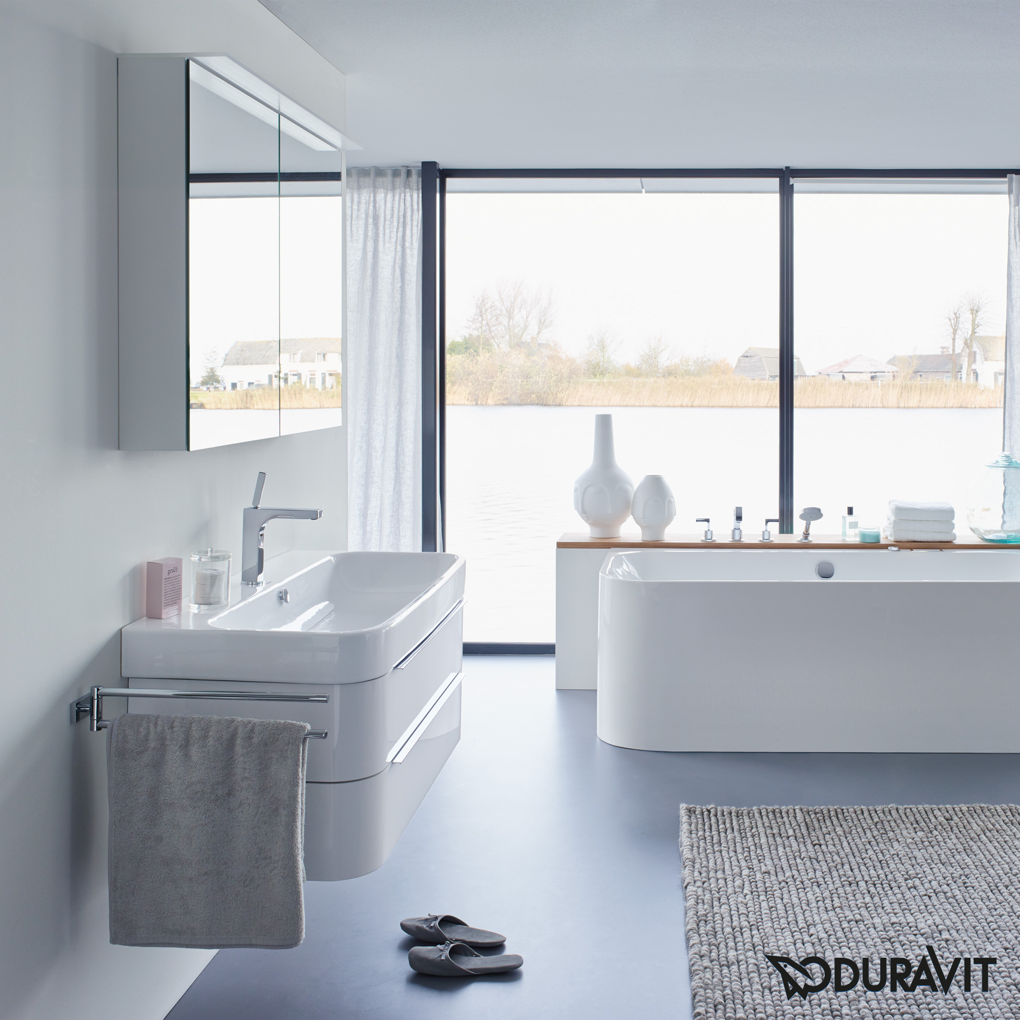 duravit happy d 2 waschtischunterbau wandh ngend t 48 cm wei. Black Bedroom Furniture Sets. Home Design Ideas