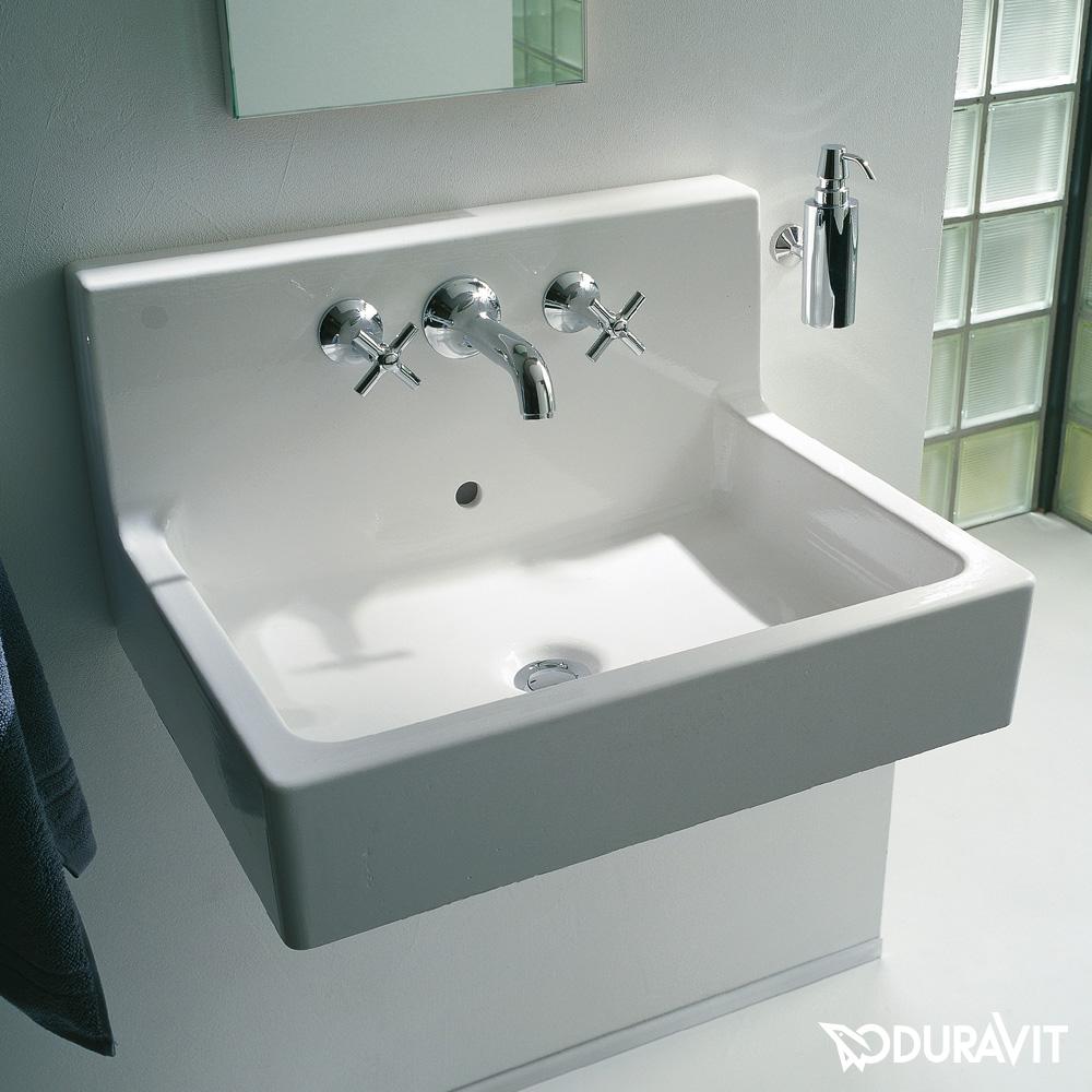 duravit vero waschtisch wei mit wondergliss mit 3 hahnl chern berlauf geschliffen. Black Bedroom Furniture Sets. Home Design Ideas
