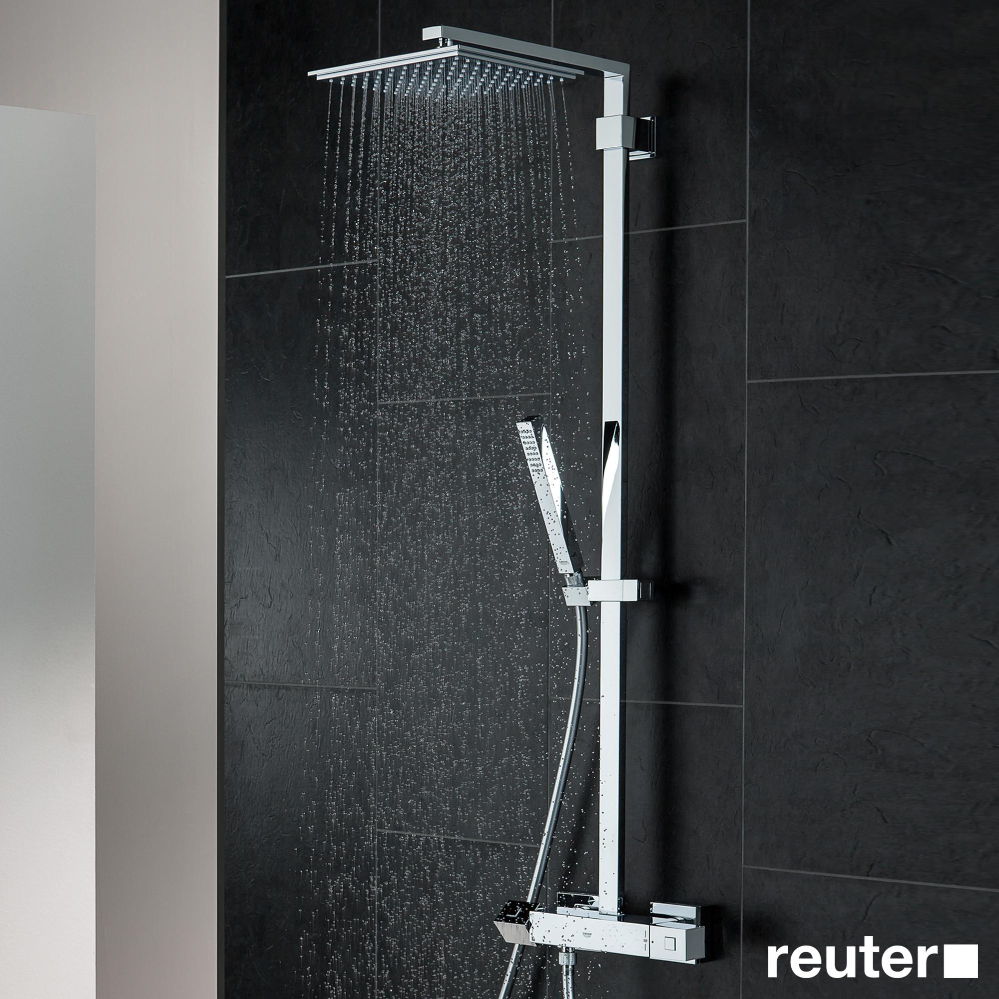 grohe euphoria cube xxl system 230 duschsystem mit thermostatbatterie f r die wandmontage. Black Bedroom Furniture Sets. Home Design Ideas