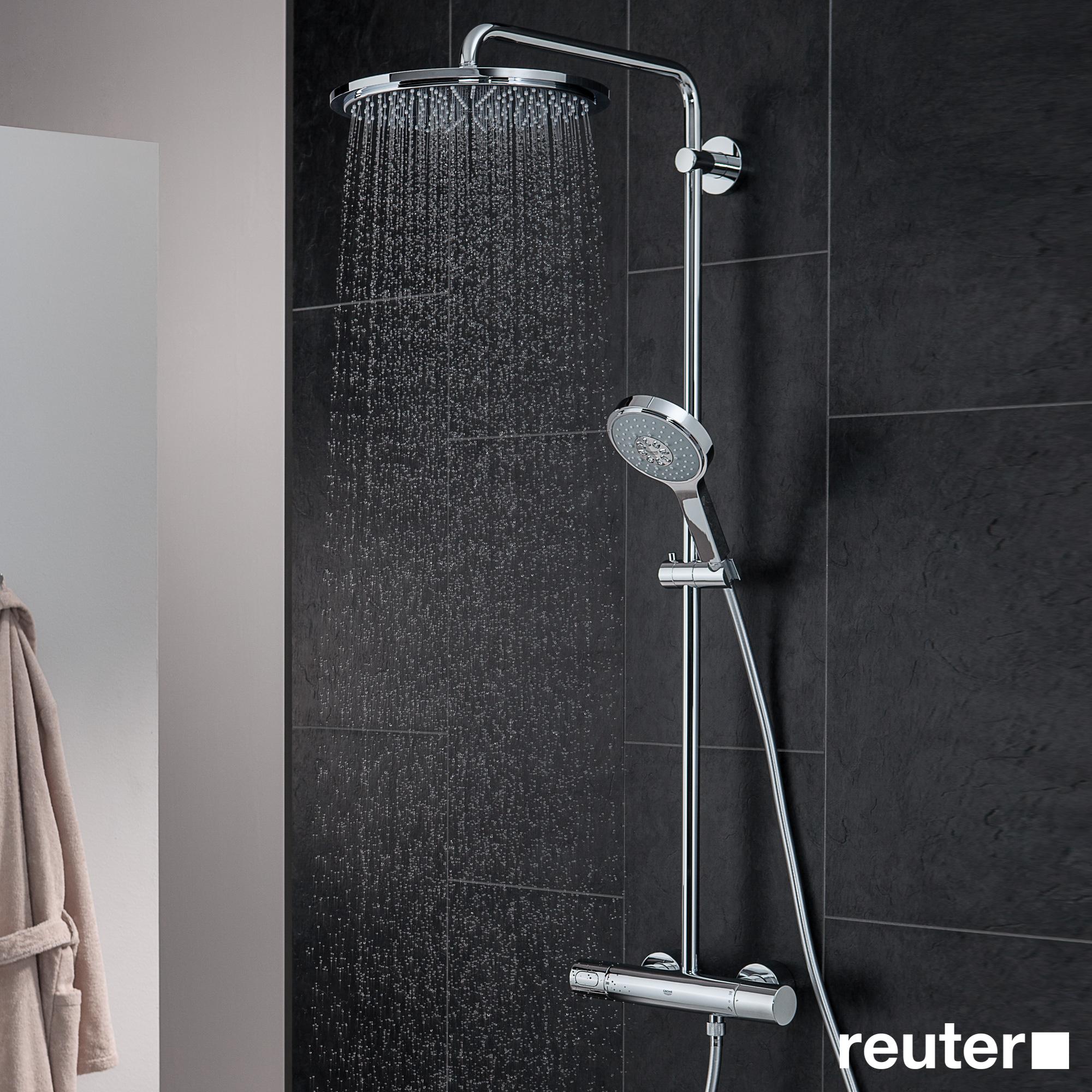 grohe rainshower system 310 duschsystem mit thermostatbatterie f r wandmontage 27968000. Black Bedroom Furniture Sets. Home Design Ideas