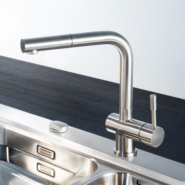 franke atlas einhebelmischer mit zugauslauf ausladung 216 mm edelstahl reuter. Black Bedroom Furniture Sets. Home Design Ideas
