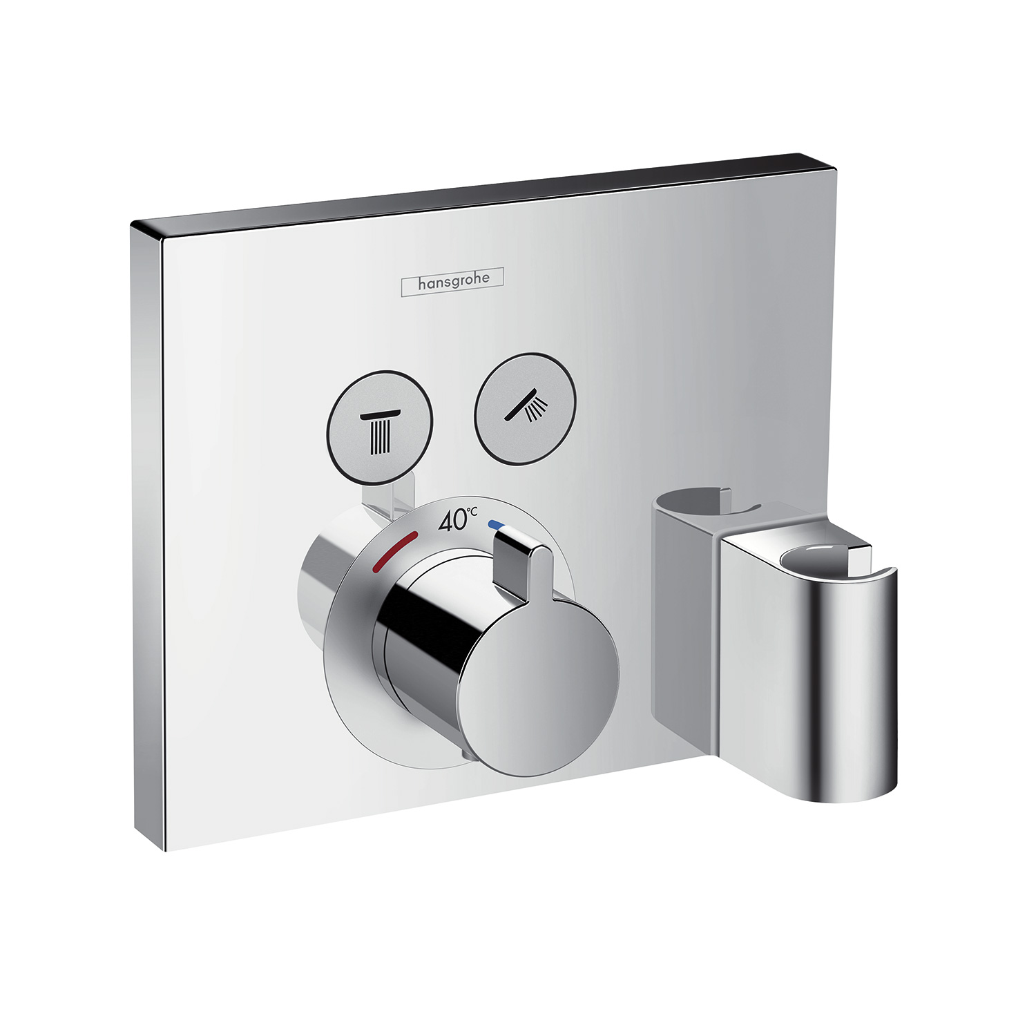 hansgrohe showerselect thermostat unterputz f r 2 verbraucher mit fixfit und portereinheit. Black Bedroom Furniture Sets. Home Design Ideas