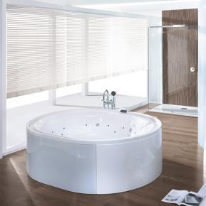 Hoesch Ergo Oval Whirlpool, freistehend L: 200 B: 160 H: 48 cm, Glas: silber Verkleidung: Acryl weiß/Glas silber