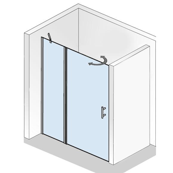 hsk favorit nova pendelt r in nische mit festteil klar hell silber matt wem 138 0 141 5. Black Bedroom Furniture Sets. Home Design Ideas