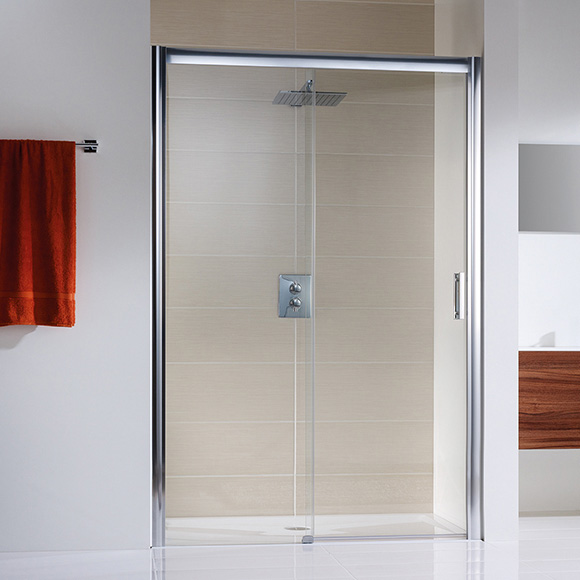 hsk solida gleitt r in nische bodenfrei klar hell edelglas chrom wem 157 0 161 0 1522160. Black Bedroom Furniture Sets. Home Design Ideas