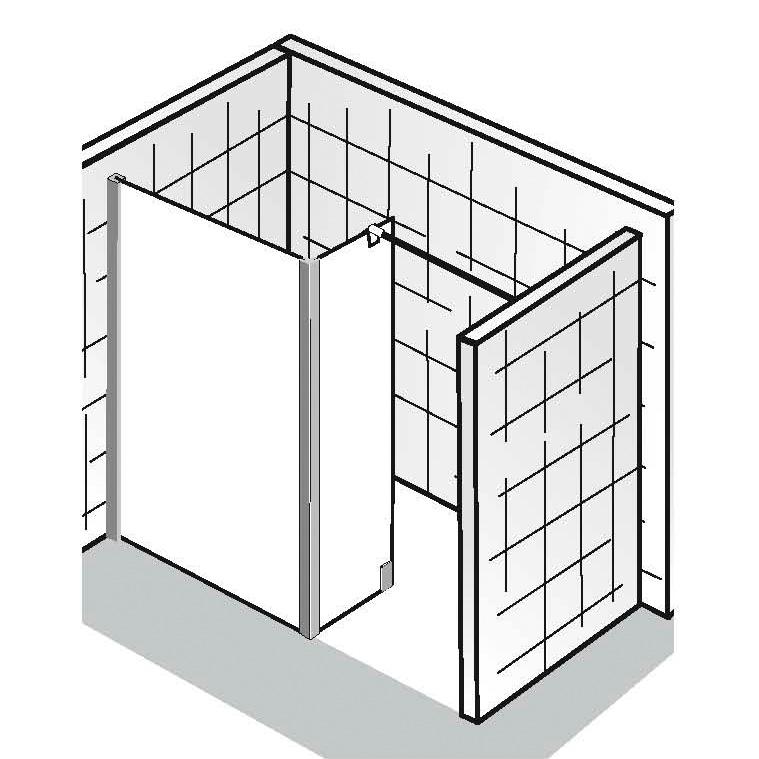 hsk walk in atelier frontelement mit seitenteil klar hell chrom optik 1710100 41 50 reuter. Black Bedroom Furniture Sets. Home Design Ideas