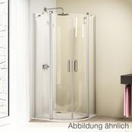 Hüppe Design elegance Schwingtür mit festen Segmenten 2-flügelig B: 80 H: 200 cm, R: 50 cm Klarglas mit ANTI-PLAQUE / chromglanz