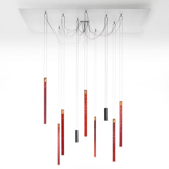 ingo maurer flying flames led pendelleuchte mit dimmer 9. Black Bedroom Furniture Sets. Home Design Ideas