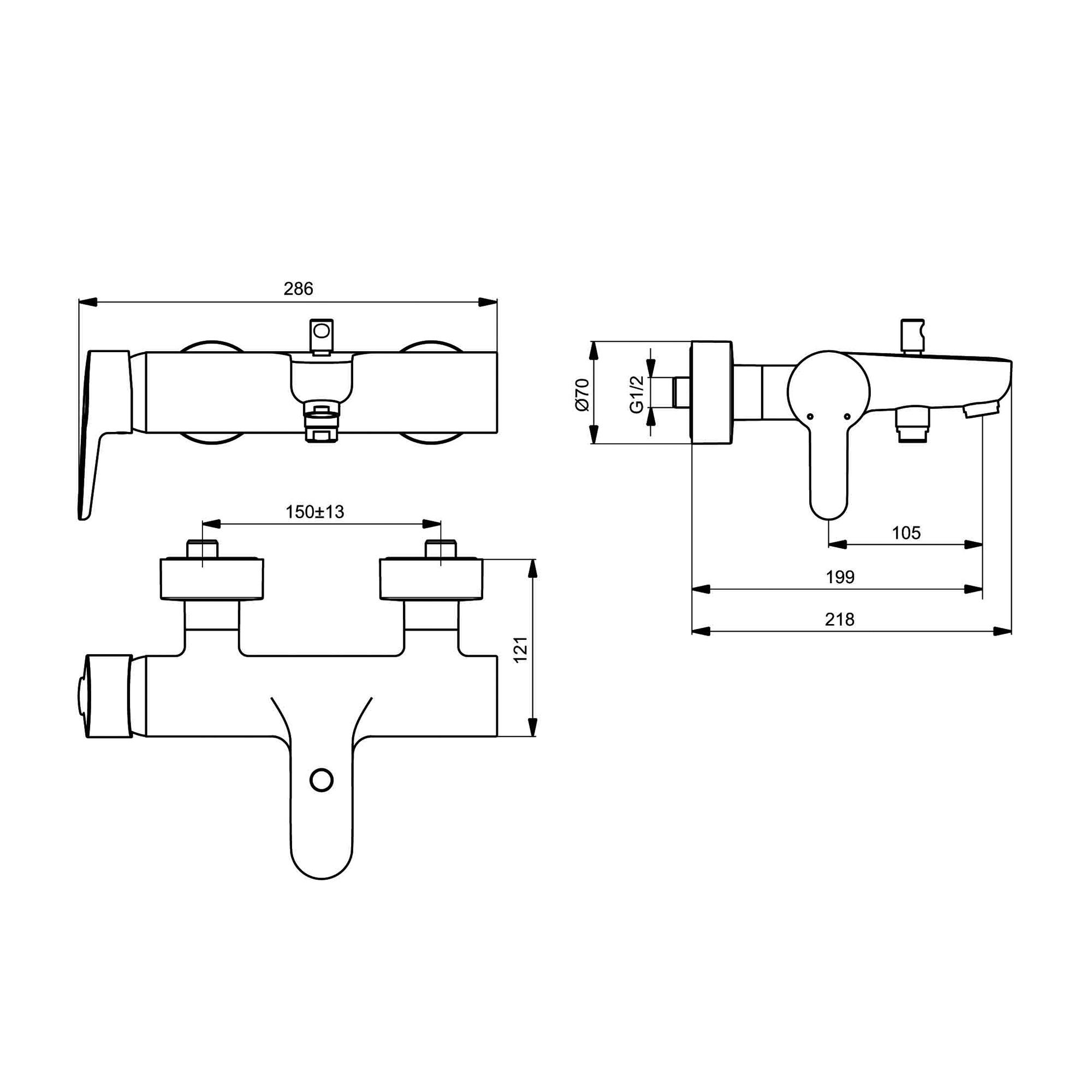 ideal standard connect blue einhebel badearmatur f r aufputz b9921aa reuter onlineshop. Black Bedroom Furniture Sets. Home Design Ideas