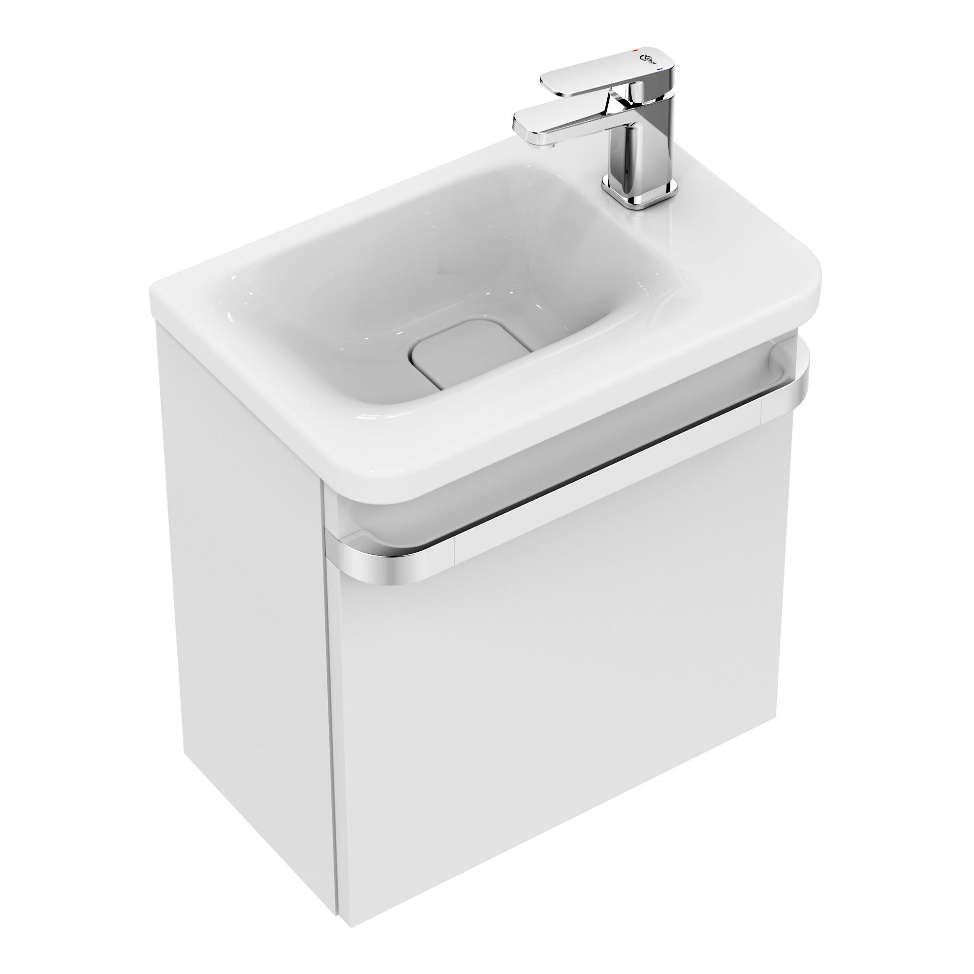 ideal standard tonic ii waschtisch unterschrank 45 cm f r handwaschbecken ablage rechts front. Black Bedroom Furniture Sets. Home Design Ideas