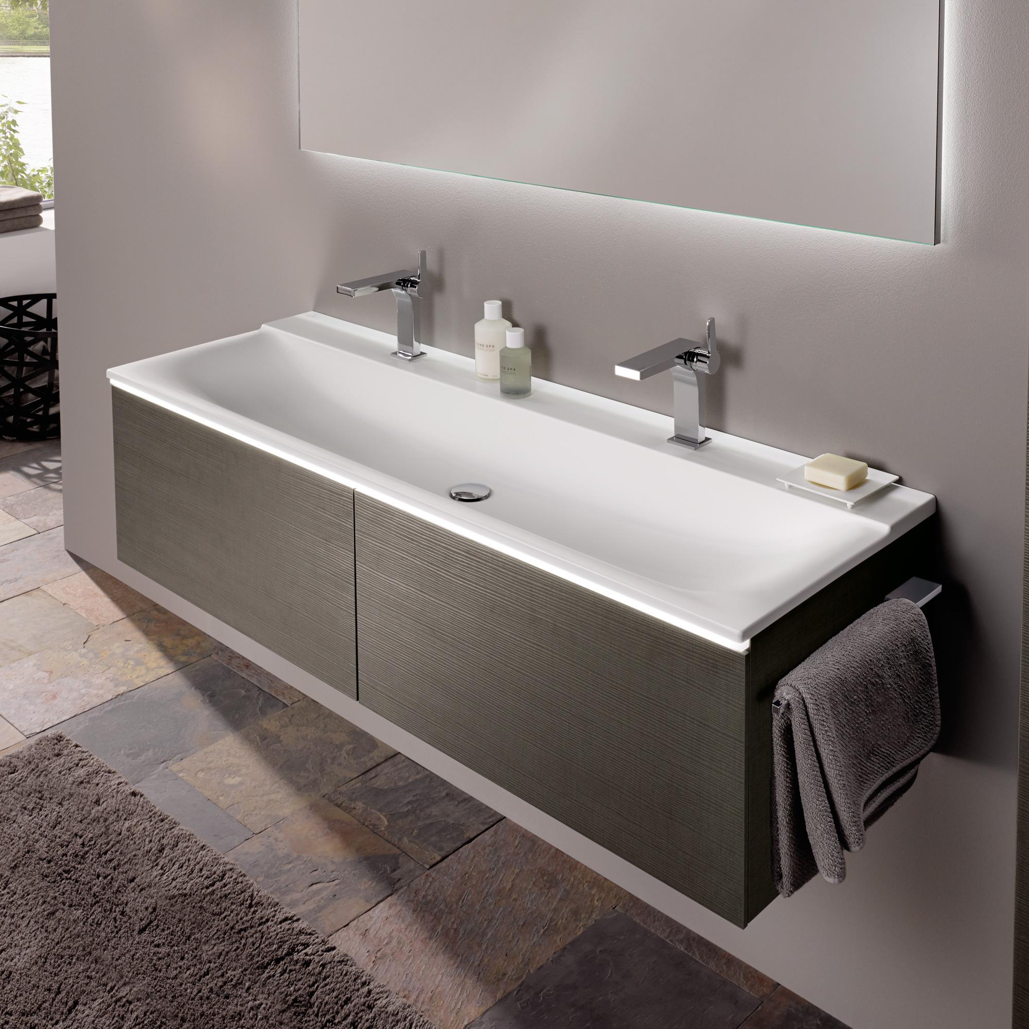 keramag xeno waschtisch b 140 h 48 cm ohne berlauf mit 2 hahnl chern wei 427041016. Black Bedroom Furniture Sets. Home Design Ideas