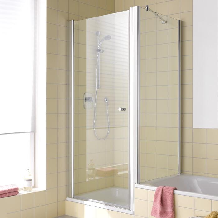 kermi atea seitenwand verk rzt auf badewanne esg transparent mit kermiclean silber hochglanz. Black Bedroom Furniture Sets. Home Design Ideas
