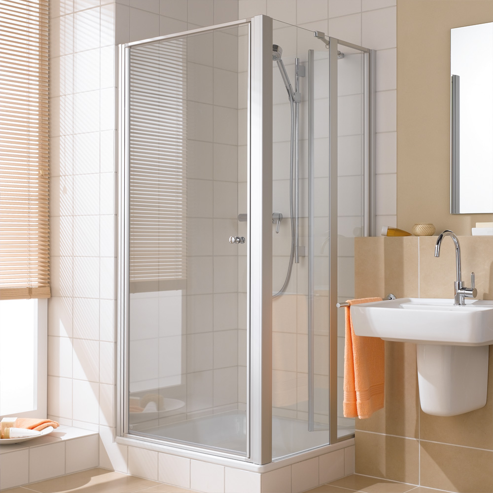 kermi ibiza 2000 seitenwand geteilt beweglich esg transparent silber mattglanz. Black Bedroom Furniture Sets. Home Design Ideas