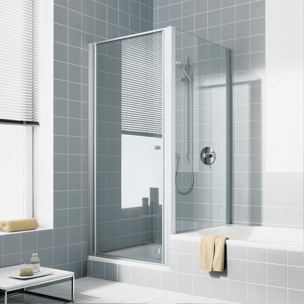kermi ibiza 2000 seitenwand verk rzt auf badewanne esg transparent mit kermiclean silber. Black Bedroom Furniture Sets. Home Design Ideas