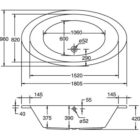 ottofond gomera oval badewanne mit wannentr ger 935001 w reuter onlineshop. Black Bedroom Furniture Sets. Home Design Ideas