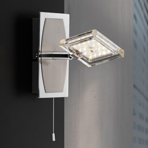 Paul Neuhaus Daan LED Wandleuchte m. Ein-/Aussch. B:14 H:16 T:15 cm, nickel m./chrom/klar 6849-17 DAAN, EEK: A+. Diese Leuchte enthält eingebaute LED-Lampen. A++ (LED), A+ (LED), A (LED). Die Lampen können in der Leuchte nicht ausgetauscht werden.