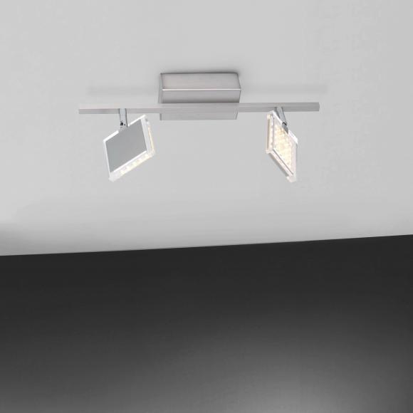 Paul Neuhaus Futura LED Deckenleuchte B: 45 H: 19,4 T: 21 cm, nickel matt/klar 6136-55 FUTURA, EEK: A+. Diese Leuchte enthält eingebaute LED-Lampen. A++ (LED), A+ (LED), A (LED). Die Lampen können in der Leuchte nicht ausgetauscht werden.