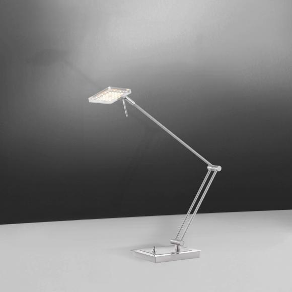 Paul Neuhaus Futura LED Tischleuchte B: 13 H: 76 T: 22 cm, nickel matt/chrom/klar 4136-55 FUTURA, EEK: A+. Diese Leuchte enthält eingebaute LED-Lampen. A++ (LED), A+ (LED), A (LED). Die Lampen können in der Leuchte nicht ausgetauscht werden.