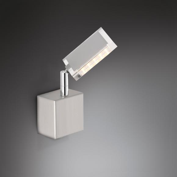 """""""Paul Neuhaus Futura LED Wandleuchte m. Ein-/Aussch. B:13 H:8,5 T:23,5 cm, nickel m./klar. EEK: A+. Diese Leuchte enthält eingebaute LED-Lampen. A++ (LED), A+ (LED), A (LED). Die Lampen können in der Leuchte nicht ausgetauscht werden. """" """"9135-55 FUTURA"""""""