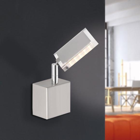 Paul Neuhaus Futura LED Wandleuchte m. Ein-/Aussch. B:13 H:8,5 T:23,5 cm, nickel m./klar 9135-55 FUTURA, EEK: A+. Diese Leuchte enthält eingebaute LED-Lampen. A++ (LED), A+ (LED), A (LED). Die Lampen können in der Leuchte nicht ausgetauscht werden.