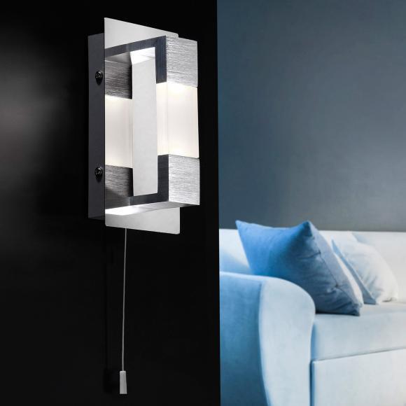 Paul Neuhaus Kemos LED Wandleuchte m. Ein-/Aussch. B:8 H:9 T:9 cm, alu matt/chrom/satin. 9196-96 KEMOS, EEK: A+. Diese Leuchte enthält eingebaute LED-Lampen. A++ (LED), A+ (LED), A (LED). Die Lampen können in der Leuchte nicht ausgetauscht werden.