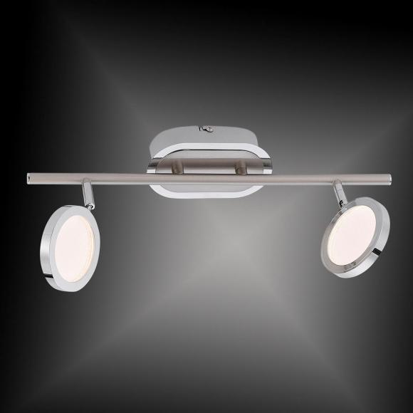 Paul Neuhaus Nola LED Deckenleuchte B: 40,5 H: 20 T: 20 cm, chrom/nickel matt/transparent 8512-55 NOLA, EEK: A+. Diese Leuchte enthält eingebaute LED-Lampen. A++ (LED), A+ (LED), A (LED). Die Lampen können in der Leuchte nicht ausgetauscht werden.