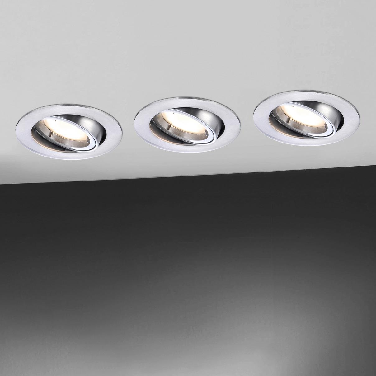 paul neuhaus lumeco led einbaustrahler schwenkbar rund mit dimmer 7591 95 lumeco reuter. Black Bedroom Furniture Sets. Home Design Ideas