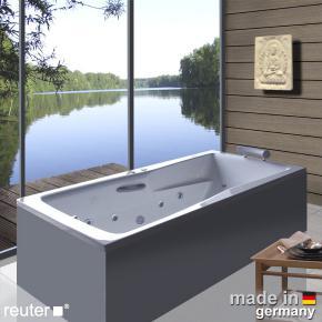 Reuter Kollektion Relax Rechteck-Whirlwanne mit Whirlsystem Premium mit Ab- und Überlaufgarnitur mit Wassereinlauf