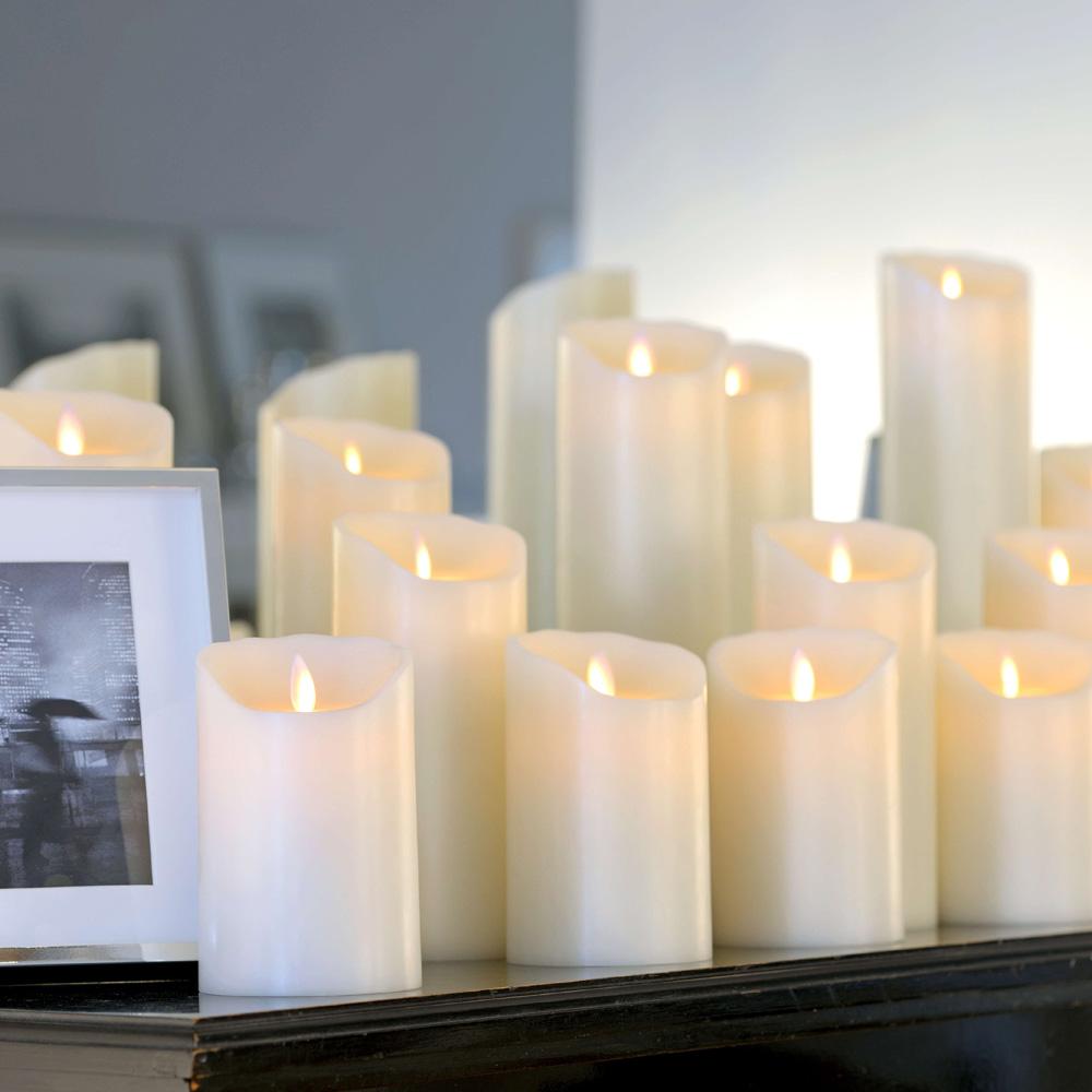sompex flame led echtwachskerzen 3 er set mit timer fernbedienbar 35130 35131 35132 reuter. Black Bedroom Furniture Sets. Home Design Ideas